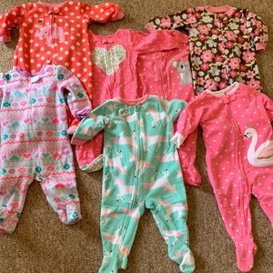 Bundle of babygirl 6 month footed pajamas